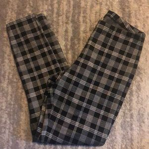 Express High Waisted Plaid Pull On Leggings